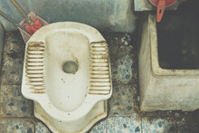 Top View Dirty Squat Type Toilet