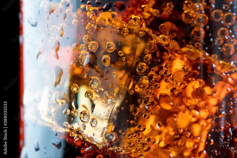 Fototapeta ice cube in fizzy splashing water with soda bubble