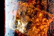Leinwandbild Motiv ice cube in fizzy splashing water with soda bubble