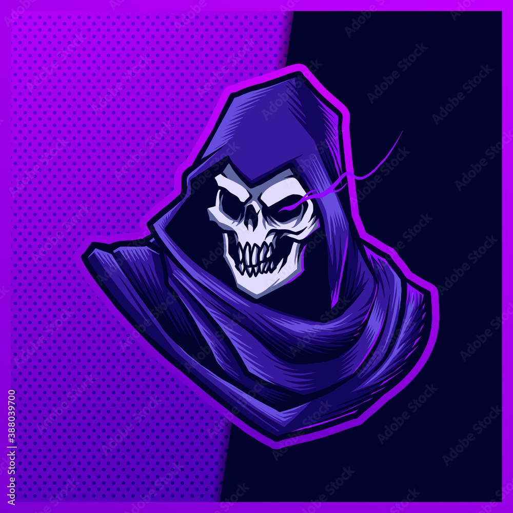 Fototapeta Purple Grim Reaper esport and sport mascot logo design with modern illustration concept style for team, badge, emblem and patch. Gaming Logo Template on Isolated Background. Vector illustration
