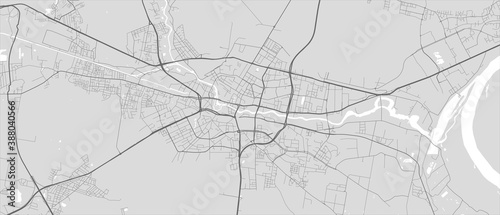 Urban city map of Bydgoszcz. Vector poster. Grayscale street map. Canvas Print