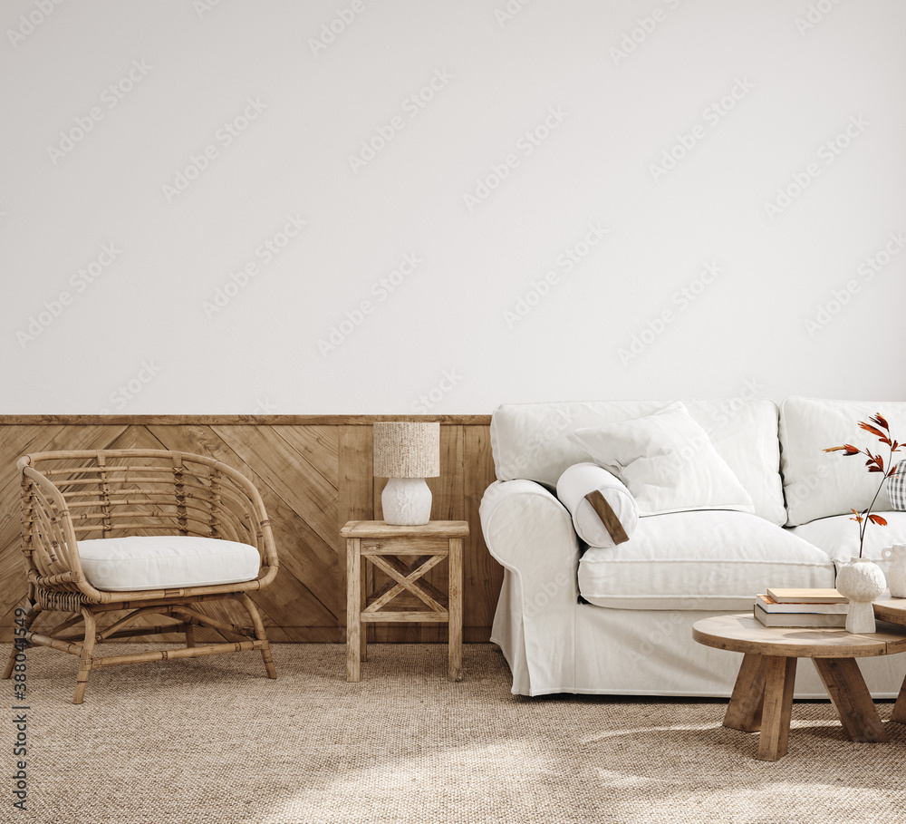Fototapeta Scandinavian farmhouse living room interior, 3d render