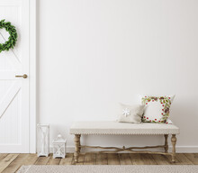 Scandinavian Farmhouse Hallway Interior With Christmas Decoration, Wall Mockup, 3d Render