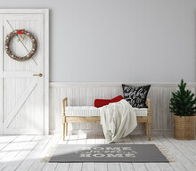Scandinavian Farmhouse Hallway Interior With Christmas Decoration, Wall Mockup, 3d Render