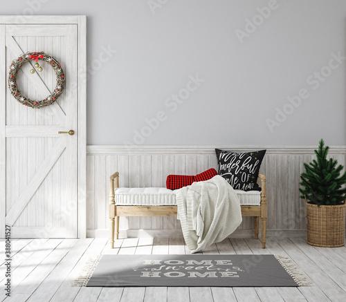Foto Scandinavian farmhouse hallway interior with Christmas decoration, wall mockup,