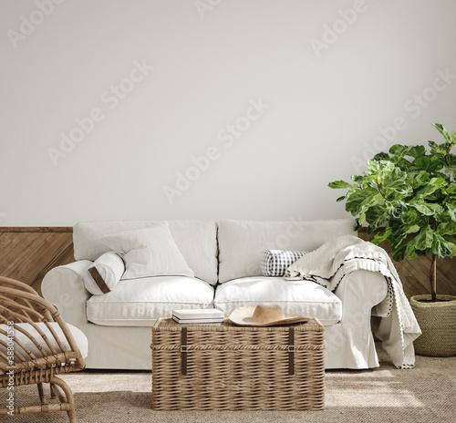 Obraz na plátně Scandinavian farmhouse living room interior, 3d render