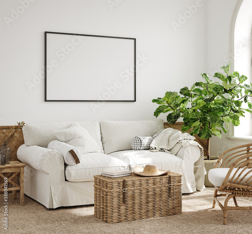 Canvas-taulu Mockup frame in farmhouse living room interior, 3d render