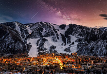 Aspen City Skyline With Milky Way