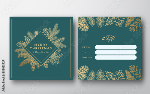 Obraz Merry Christmas Abstract Vector Greeting Gift Card Background. Back and Front Design Layout with Classy Typography. Sketch Frame Emblem Pine Twigs with Strobile, Holly and Mistletoe. Isolated - fototapety do salonu