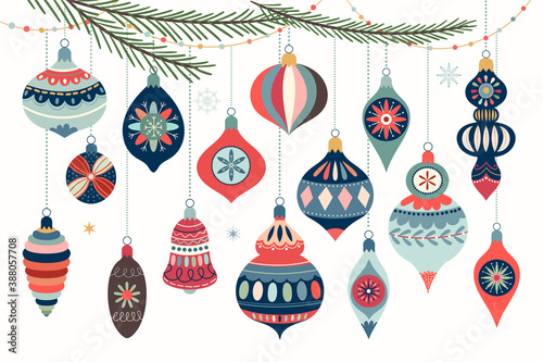 Christmas ornaments collection with decorative Christmas balls isolated on white Fotobehang