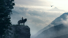 Viking Knight On A Cliff Over Cloudly Mountains With Raven - Concept Art - 3D Rendering