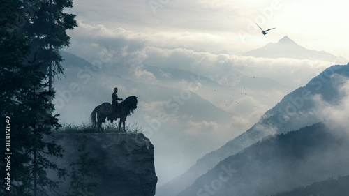 Viking knight on a cliff over cloudly mountains with raven - concept art - 3D re Tapéta, Fotótapéta