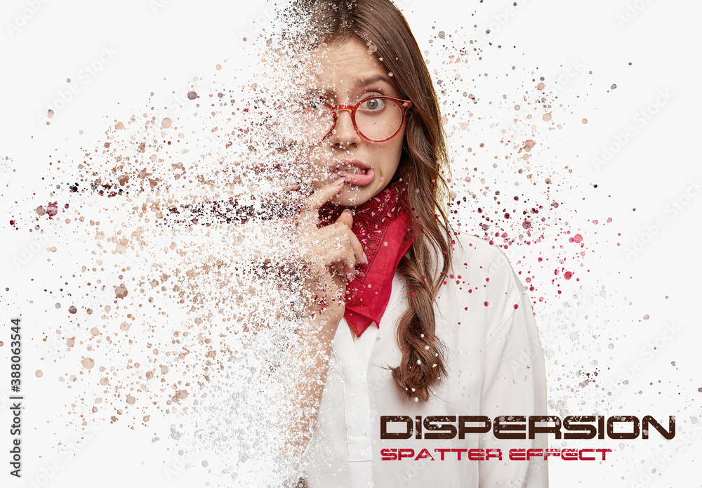 Fototapeta Dispersion Spatter Photo Effect with Particle Mockup