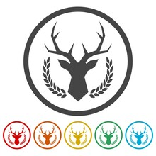 Deer Head In The Laurel Wreath Ring Icon, Color Set