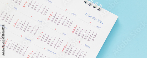 Obraz 2021 calendar page on blue background business planning appointment meeting concept - fototapety do salonu
