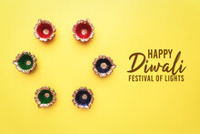 Happy Diwali - Clay Diya Lamps Lit During Dipavali, Hindu Festiv