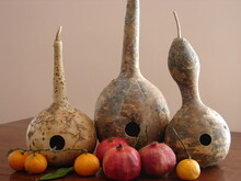 Birdhouse Gourds With Pomegranates And Tangerines, Still Life For Thanksgiving Table Centerpiece Decorations