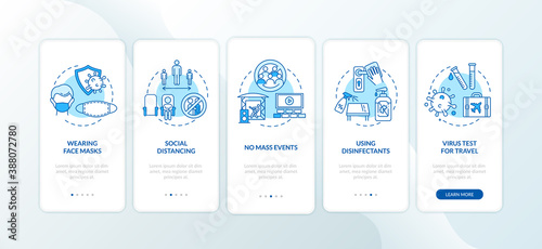 Fotografia New public rules onboarding mobile app page screen with concepts