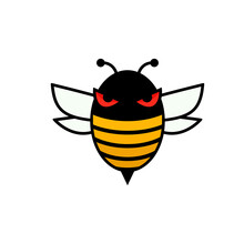 Evil Bee Filled Line Icon. Clipart Image Isolated On White Background.