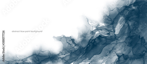Obraz na płótnie Abstract art blue paint background by alcohol ink or watercolor isolated on white background with space for text