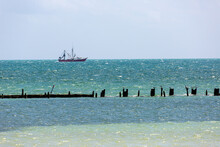 Broken Pilings Pier In The Ocean Key West