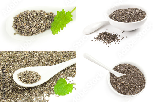 Fototapeta Set of organic dry chia seeds on a isolated white background obraz