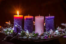 One Burning Candle On Advent Wreath