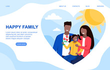 Happy Family Concept. Young Beautiful Mom And Dad Holding Little Daughter In Arms And Smiling. Flat Cartoon Vector Illustration With Fictional Characters. Website, Web Page Or Landing Page Template.