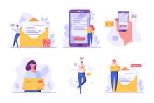Mail Service Set. People Using Mobile Phone And Writing Mail. Contact Us Banners. Collection Of Online Support, Customer Support, E-mail Marketing. Vector Illustration For UI, Web Banner, Mobile App