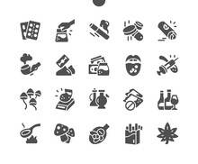 Drugs. Drugs Abuse. Syringe For Injection. Social Disaster. Fight Drugs. Cocaine Or Other Illegal Drugs, White Powder, Syringe. International Drug Abuse Day. Vector Solid Icons. Simple Pictogram