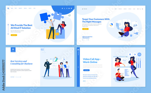 Obraz Set of website template designs of IT and business solution, consulting, video call app, work online, customer relations mana. Vector illustration concepts for website and mobile website development.  - fototapety do salonu