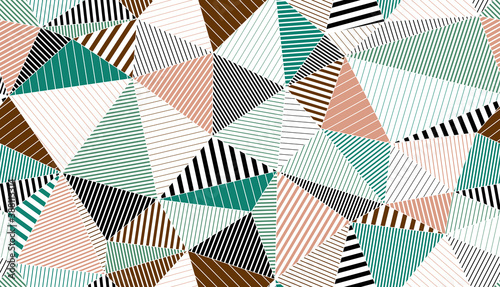 Polygonal linear color seamless pattern, graphic colorful low poly striped endless wallpaper background.