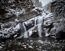 Cameron Falls During The Winter In Waterton Park After A Snowfall.