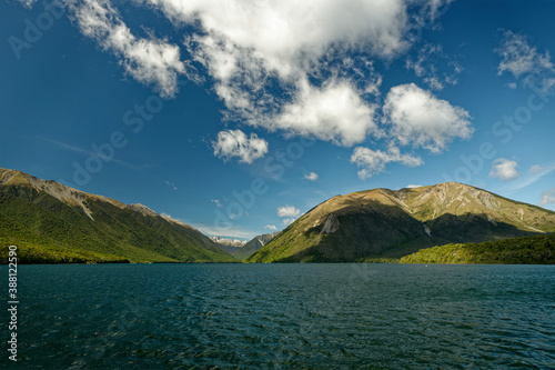 Nelson Lakes National Park located in the South Island of New Zealand, at two lakes Rotoiti and Rotoroa, valleys Travers, Sabine, D'Urville and mountain ranges Saint Arnaud Range, Mount Robert Wallpaper Mural