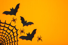 Halloween Paper Bats With Spid...