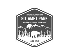 National Park Vintage Badge. Mountain Explorer Label. Outdoor Adventure Logo Design With Bear. Travel And Hipster Insignia. Wilderness, Forest Camping Emblem Hiking, Backpack Monochrome.