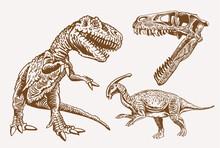 Vector Set Of Dinosaurs, Sepia...