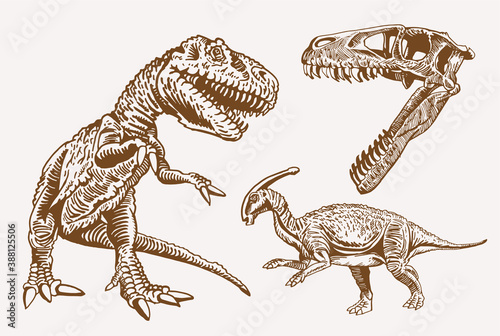 Vector set of dinosaurs, sepia background Fotobehang