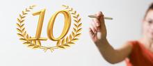 10 Years Anniversary Celebration Logotype With Elegant Celebration.