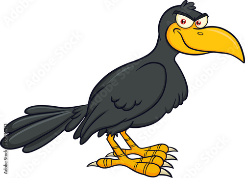 Naklejka premium Smiling Crow Bird Cartoon Character Vector Illustration Isolated On White Background