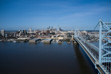 USA,ÔøΩPennsylvania,ÔøΩPhiladelphia, Aerial View Of Delaware River And Ben Franklin Bridge With City Downtown In Background