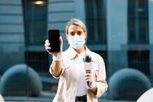 Female Journalist Wearing Mask...