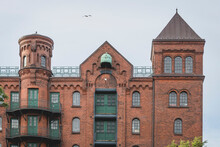 Germany, Hamburg, Speicherstadt, Old, Brick Industrial Building With Towers