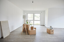 Empty Room With Many Cardboard Boxes