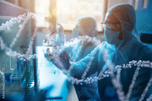 Obraz Medical science laboratory. Concept of virus and bacteria research - fototapety do salonu