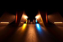 Three Dimensional Render Of Dark Futuristic Corridor Inside Spaceship Or Space Station