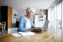 Senior Woman Working On Laptop...