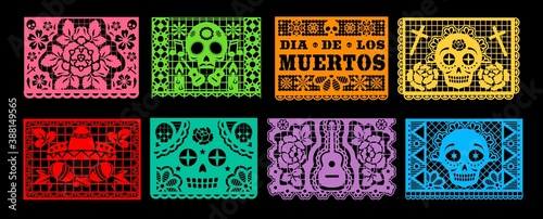 Obraz Dia de los Muertos papel picado vector set of Mexican Day of the Dead or Halloween holiday. Paper cutting flags bunting garland with pattern of skull, sombrero, maracas, guitar and marigold flower - fototapety do salonu