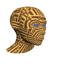 3d Woman's Head Painted With Patterns.3d Rendering, 3d Illustration.