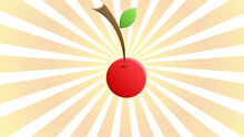 Cherry Sign Illustration. Vector. Dark Red Icon In Lemon Chiffon Shutter Bubble At Red Popart Background With Rays